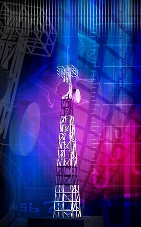 Digital illustration of an antenna sending signals   illustration