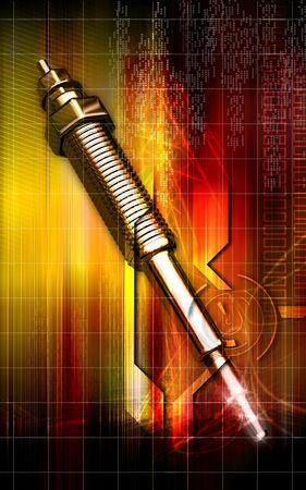 Digital illustration of a heater plug using in engines  illustration