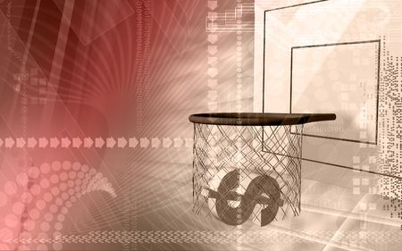 net income: Digital illustration of Dollar sign placed in basket