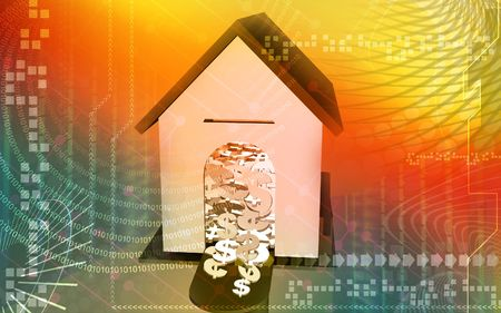 Digital illustration of Dollars in a house in colour background   illustration