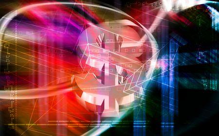 light emission: Digital illustration of Dollar sign  in colour background