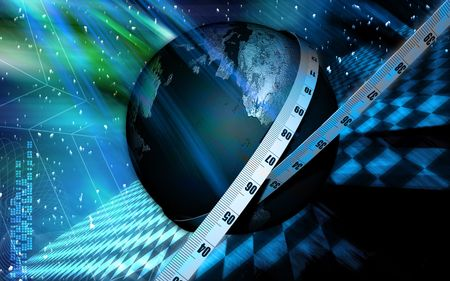 light emission: Digital illustration of Tape and earth in colour background