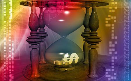 Digital illustration of Dollar sign in hourglass illustration