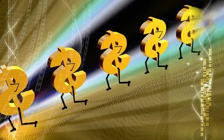 Digital illustration of dollar walking in colour background  illustration
