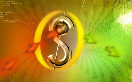 u s: Digital illustration of Dollar sign with colour background  Stock Photo