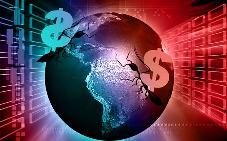 liquidity: Digital illustration of A Dollar And a globe in colour background  Stock Photo
