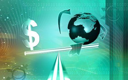 balanced: Digital illustration of balanced dollar sign with globe
