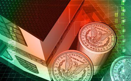 u s: Digital illustration of dollar with colour background