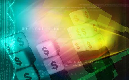 Digital illustration of dollar cubes in colour background  illustration