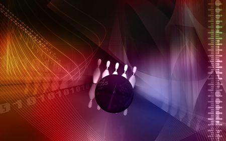 u s: Digital illustration of Tenpin and dollar ball