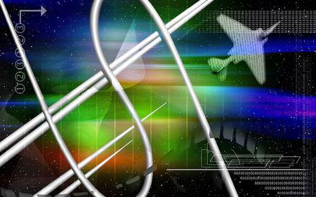 light emission: Digital Illustration of Dollar and aeroplane in colour background