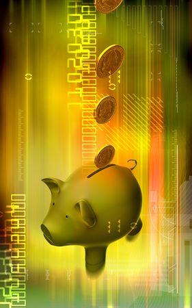 u s: Digital illustration of Pig and dollar in colour background