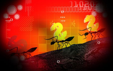 walking away: Digital illustration of ant and dollar in colour backgrund  Stock Photo