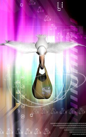 u s: Digital illustration of Flying Pelican And Dollar