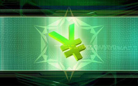 light emission: Digital Illustration of yen in colour background