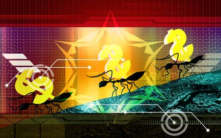 walking away: Digital illustration of ant and dollar in colour background  Stock Photo
