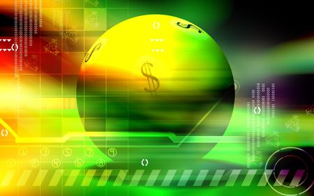 liquidity: Digital Illustration of dollar ball in blue and red colour background  Stock Photo