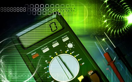 multimeter: Digital illustration of  a multimeter and cable   Stock Photo