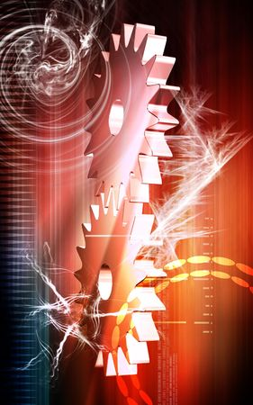 Digital illustration of gears rotating in colour background Stock Illustration - 5507093
