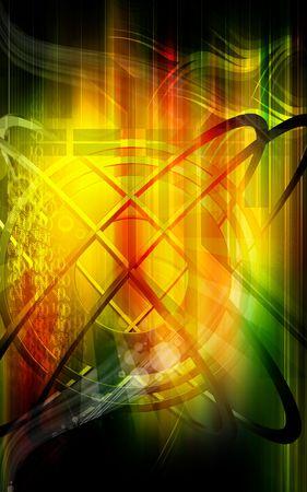 emission: Digital illustration of emission of rays in colour background  Stock Photo