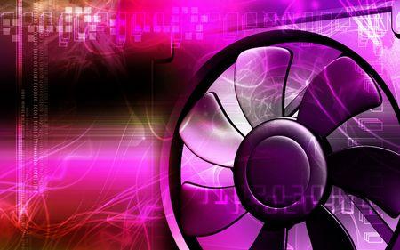 Digital illustration of a computer cooling fan in colour background illustration