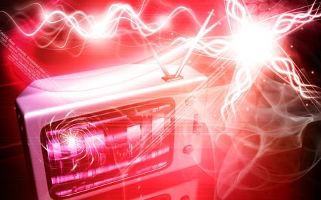 Digital illustration of a television monitor in red light   illustration