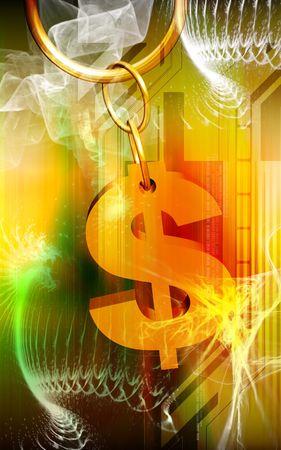 Digital illustration of Dollar sign in colour background  illustration