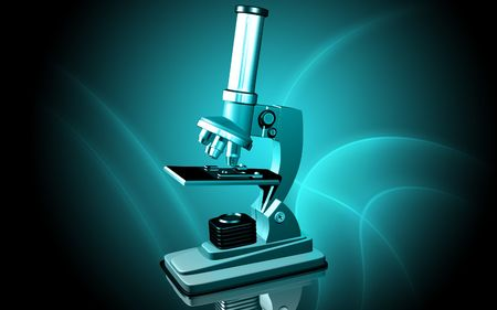 Digital illustration   of microscope in colour background Stock Illustration - 5577212