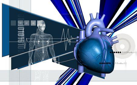 corazones azules: Ilustraci�n digital de coraz�n y el cuerpo humano en el fondo de color