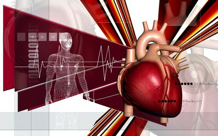 Digital illustration of  heart and human body  in  colour  background  Stock Photo