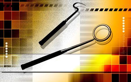 Digital illustration  of dental mirror in   colour background     illustration