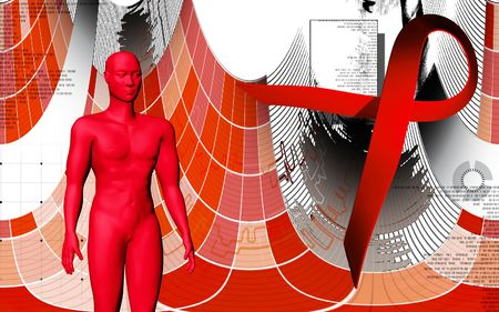 Digital illustration of a human body and HIV ribbon  illustration
