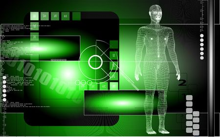 Digital illustration of  human body in colour  background   Stock Photo