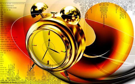 Digital illustration of  capsule with alarm clock   in  colour  background  illustration
