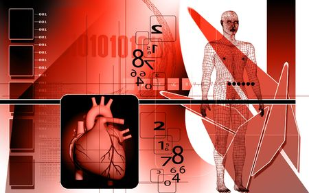 Digital illustration of  heart and human body  in  colour  background Stock Illustration - 5623151