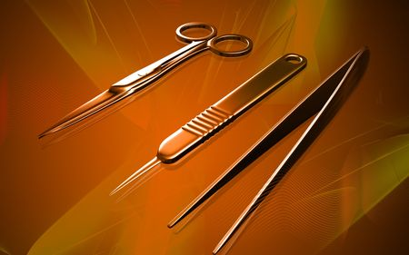 surgical equipment: Digital illustration of surgical equipment  in colour background