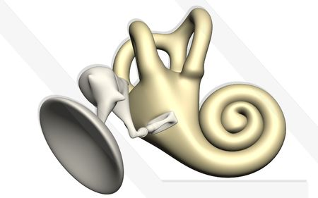 cochlea: Digital illustration of  ear in colour  background   Stock Photo