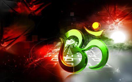 3d om: Digital illustration of Religious sign in colour background