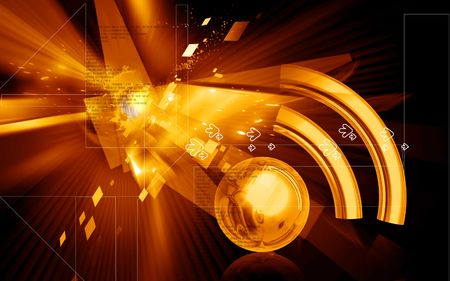 decibel: Digital illustration of Radio waves in  colour background