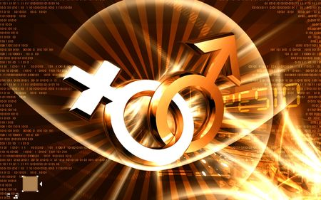 gamete: Digital illustration of male and female sign in colour background