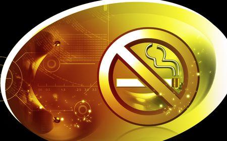 Digital illustration of no smoking  sign in colour background  illustration