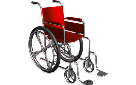 aide: Digital Illustration of  wheel chair  in isolated background