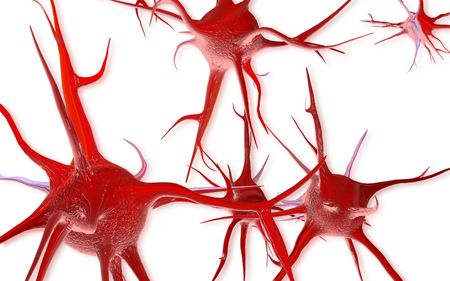 Digital illustration of Neuron with isolated background  Banco de Imagens