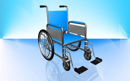 aide: Digital Illustration of  wheel chair  in colour  background