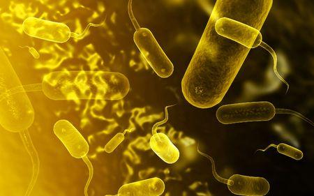 colera: Ilustraci�n digital de las bacterias del c�lera en color de fondo  Foto de archivo