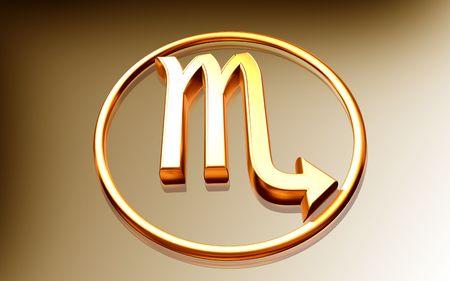 Digital illustration of Zodiac symbol in colour background