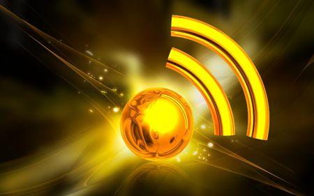 decibel: Digital illustration of Radio waves in colour background  Stock Photo