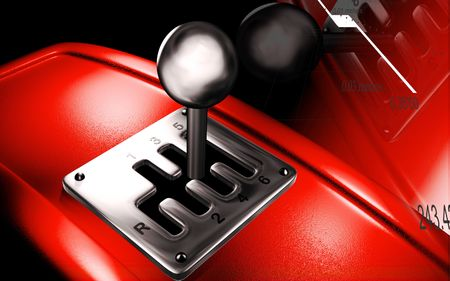 shift: Digital illustration of a vehicle gear lever movement in colour background   Stock Photo
