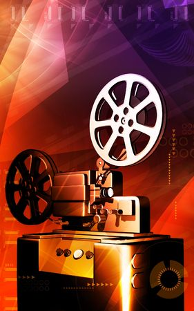 home cinema: Digital illustration of a vintage projector  in colour background