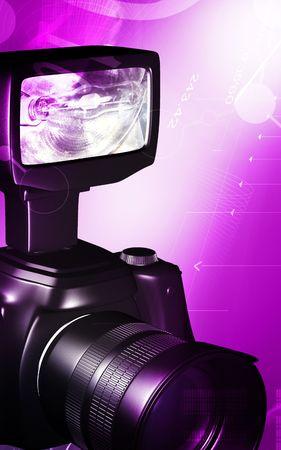 Digital illustration of a camera in colour background  illustration